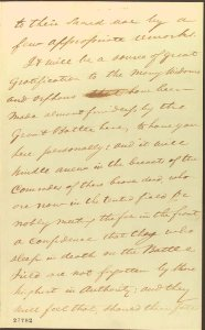 Page three of Wills November 2 letter to Lincoln.  LOC